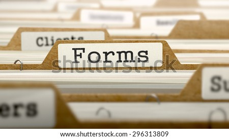 Forms Concept. Word on Folder Register of Card Index. Selective Focus.