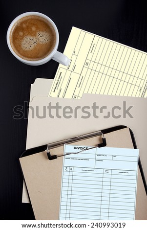 Forms of accounting documents - bill of lading and Invoice. - stock photo