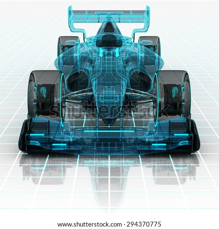 formula car technology wireframe sketch front view motorsport product background design of my own - stock photo