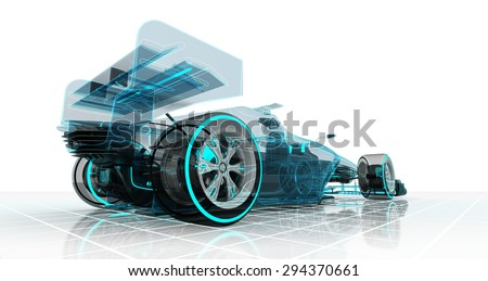formula car technology wireframe sketch perspective back view motorsport product background design of my own - stock photo