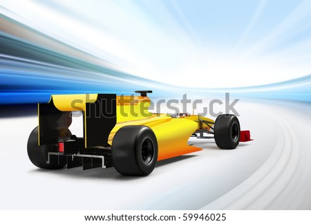 formula one car driving at high speed in empty road - motion blur - stock photo