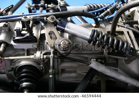 Formula one car engine detail - stock photo