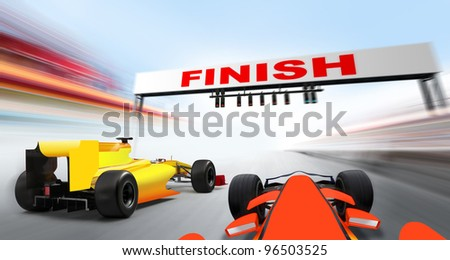 formula one cars driving at high speed lap - motion blur - stock photo