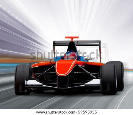 formula one race car on speed track - motion blur - stock photo