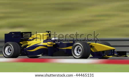 formula one race car on track - high quality 3d rendering - my own car design - stock photo