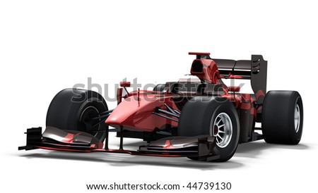formula one race car on white background - high quality 3d rendering - my own car design - stock photo