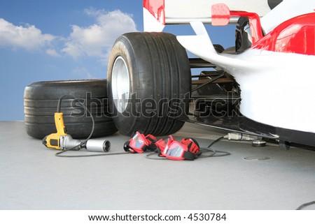 Formula - 1 Pit stop team tools - stock photo
