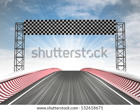 formula racing finish line view with sky illustration - stock photo