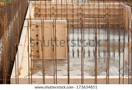 formwork for the concrete foundation, building site, horizontal, outdoors - stock photo