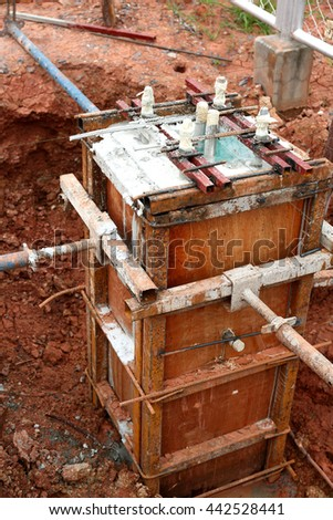Formwork for walls made of concrete. Construction of the building  - stock photo