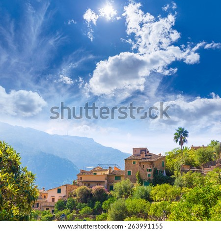 Fornalutx village aerial skyline in Majorca Balearic island Mallorca spain - stock photo