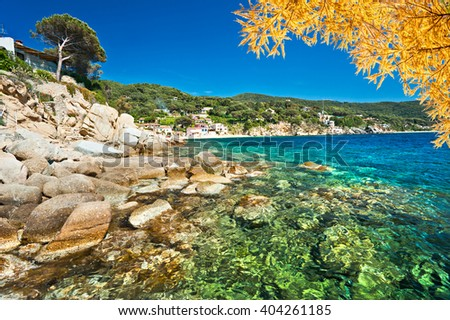 Forno, on the Biodola Bay, Elba island. - stock photo