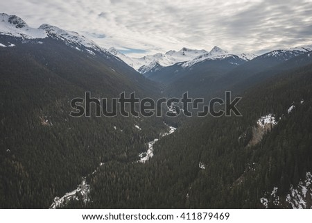 Forrest views from the Peak to peak gondola in Whistler, BC - stock photo