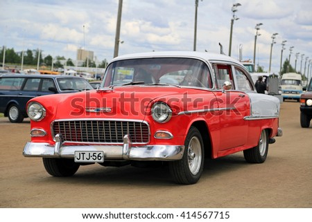 FORSSA, FINLAND - AUGUST 2, 2015: Classic car Chevrolet Bel Air of Second generation, manufactured between 1954-57, on the public event of Pick-Nick Car Show. - stock photo