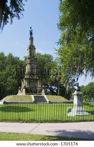 Forsyth Park's Confederate Monument in Savannah, Georgia.  Construced in 1874 and 1875 - stock photo
