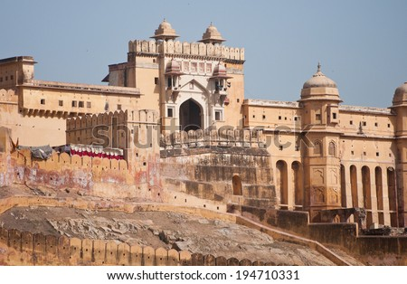 fort amber in india - rajasthan - jaipur - stock photo