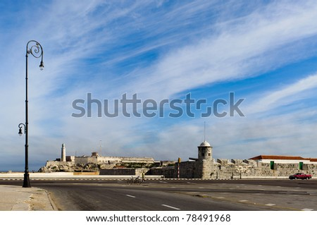 Fort and El Morro lighthouse on Havana bay - stock photo