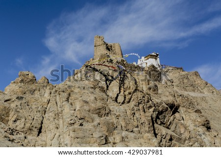 Fort and Namgyal or red gompa is main Buddhist centre in Leh. Ladakh. India - stock photo