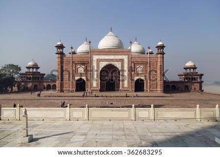 Fort around Taj Mahal in Agra, India - stock photo