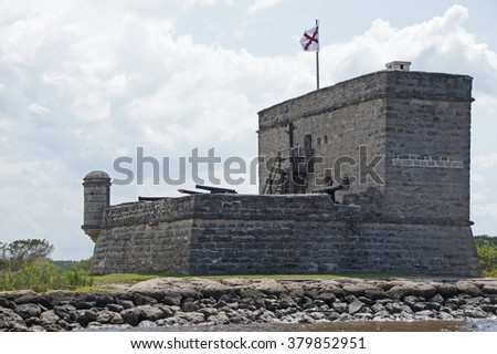 Fort at Florida river south of St Augustine, Florida                     - stock photo