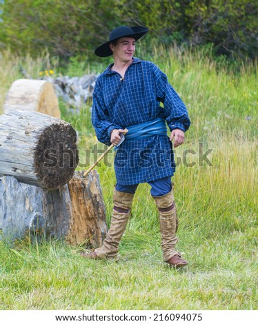 FORT BRIDGER , WYOMING - AUG 30 : Unidentified participant in the Fort Bridger Rendezvous held in Fort Bridger Wyoming on August 30 2014. Rendezvous is a mountain man celebration of the Fur Trade Era