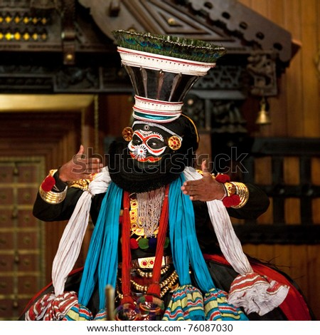 FORT COCHIN - FEBRUARY 17: Kathakali actor in Cochin Kathakali center on February 17, 2010 in Fort Cochin, South India. Kathakali is the ancient classical dance form of Kerala