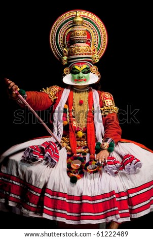 FORT COCHIN - FEBRUARY 17: Kathakali performer in the virtuous pachcha (green) role in Cochin on February 17, 2010 in South India. Kathakali is the ancient classical dance form of Kerala.