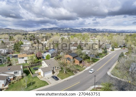 FORT COLLINS, CO, USA - APRIL 18, 2015: Aerial view of Fort Collins, a typical residential neighborhood along Front Range of Rocky Mountains in Colorado,  early spring