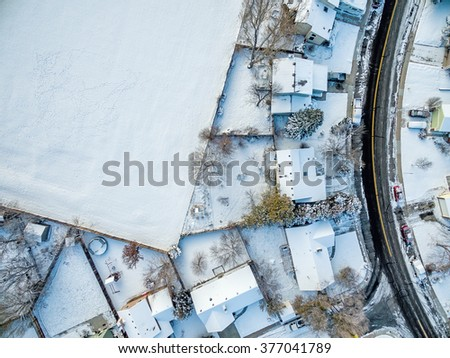 FORT COLLINS, CO, USA - NOVEMBER 29, 2015: Aerial  view of typical residential neighborhood along Front Range of Rocky Mountains in Colorado in winter scenery - stock photo