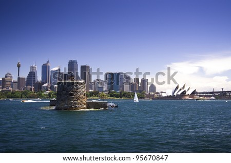 Fort Denison on Sydney Harbour with the Sydney Opera House and the Sydney skyline in the background