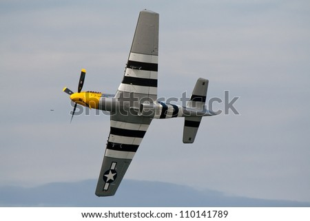 """FORT GEORGE, SCOTLAND - AUGUST 11: An unidentified pilot flies the P-51D Mustang plane """"Ferocious Frankie"""" at the Celebration Of The Centuries event on August 11, 2012 at Fort George, Scotland. - stock photo"""