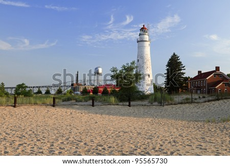 Fort Gratiot Lighthouse early evening -- Port Huron, Michigan, USA - stock photo