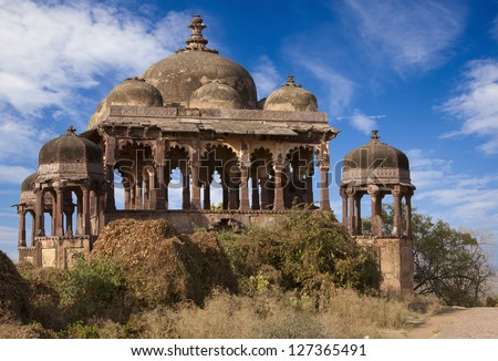 Fort in Ranthambhore National Park, Rajasthan, India. - stock photo