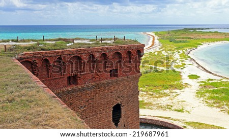 Fort Jefferson, a three-story fortress in Dry Tortugas National Park, is one of the United States' most remote national parks. - stock photo