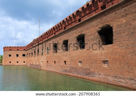 Fort Jefferson and its moat of sea water, Dry Tortugas National Park, Florida, USA - stock photo