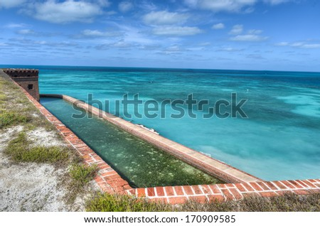 Fort Jefferson at Dry Tortugas National Park. Fort Jefferson was built to protect one of the most strategic deepwater anchorages in North America. - stock photo