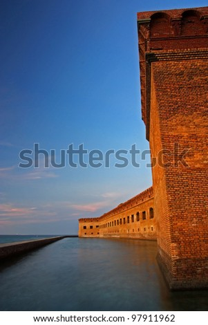 Fort Jefferson at Sunset, Dry Tortugas National Park, Florida Keys - stock photo