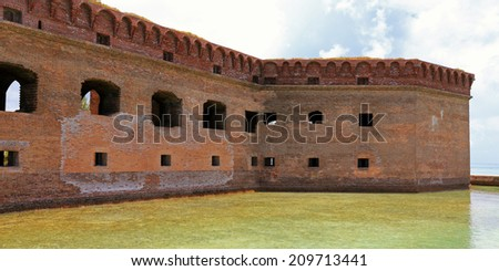 Fort Jefferson is the key attraction for visitors to Dry Tortugas National Park in Florida. - stock photo