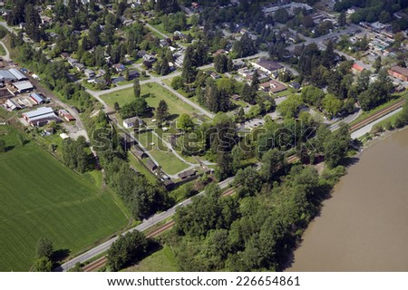 Fort Langley and Fraser River - stock photo