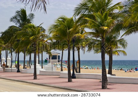 fort lauderdale beach in florida - stock photo