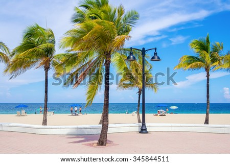 Fort Lauderdale beach in Florida on a beautiful summer day - stock photo