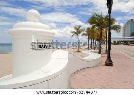 Fort Lauderdale Beach promenade. - stock photo