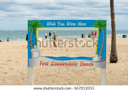 Fort Lauderdale Beach sign - stock photo