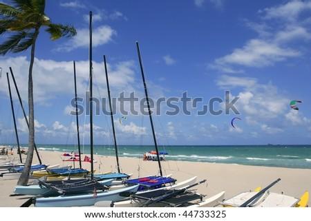Fort Lauderdale catamaran beach Florida blue sky - stock photo