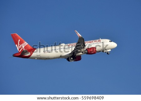 FORT LAUDERDALE - DECEMBER 26: Virgin America Airbus passenger jet departs from Ft Lauderdale to its home base in San Francisco on December 26, 2016