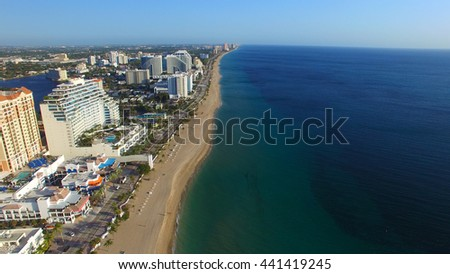 FORT LAUDERDALE - FEBRUARY 25, 2016: City aerial skyline on a sunny morning. Fort Lauderdale is a preferred tourist destination.