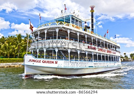FORT LAUDERDALE, FL- AUGUST 1: The Jungle Queen riverboat cruises along on August 01, 2010 in Fort Lauderdale, Florida. The Jungle Queen is 65 years and has transported so far 4 Million passengers. - stock photo
