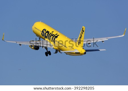 FORT LAUDERDALE, FL - FEBRUARY 17:  Spirit Airlines Airbus A321 taking off on February 17, 2016 in Fort Lauderdale, FL. Spirit Airlines is an American airline with its headquarters in Fort Lauderdale. - stock photo