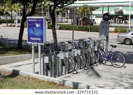 Fort Lauderdale, FL, USA - JUNE 25, 2014: Broward B-Cycle Station located at A1A just south of Oakland Park Boulevard. A collection of public bicycles for rent located in a kiosk on the east side  - stock photo