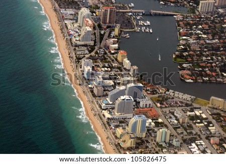 Fort Lauderdale, Florida beach and waterways aerial view - stock photo